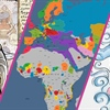 Banner divided into thirds, showing a cartoon depiction of a woman, a map of Europe and Africa, and another cartoon depiction of several Islamic scholars.