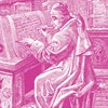 Engraving of a seated medieval scholar writing a letter on an upright desk.
