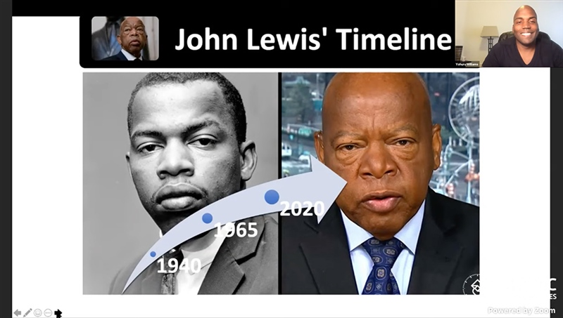 Screenshot from Yohuru Williams's OC for SS talk, featuring images of John Lewis as a young man and towards the end of his life.